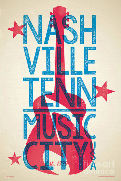 Wall Art - Digital Art - Nashville Poster - Tennessee by Jim Zahniser