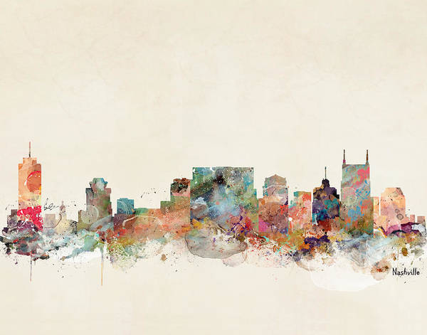 Wall Art - Painting - Nashville Tennessee Skyline  by Bri Buckley