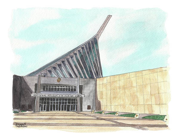 Painting - National Museum Of The Marine Corps by Betsy Hackett