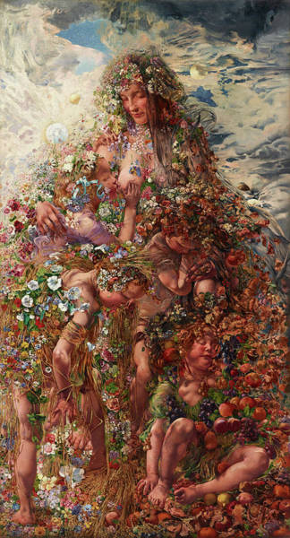 Fertility Painting - Nature Or Abundance by Leon Frederic