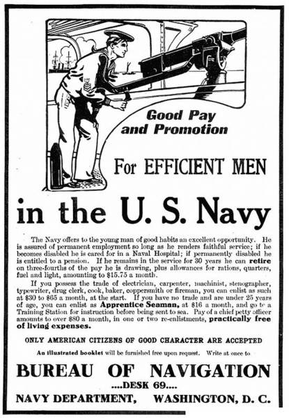 Recruitment Painting - Navy Recruitment Advertisement In Popular Mechanics by MotionAge Designs