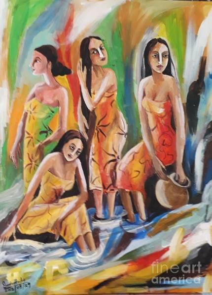 Wall Art - Pastel - Near The Waterfall by Sudumenike Wijesooriya