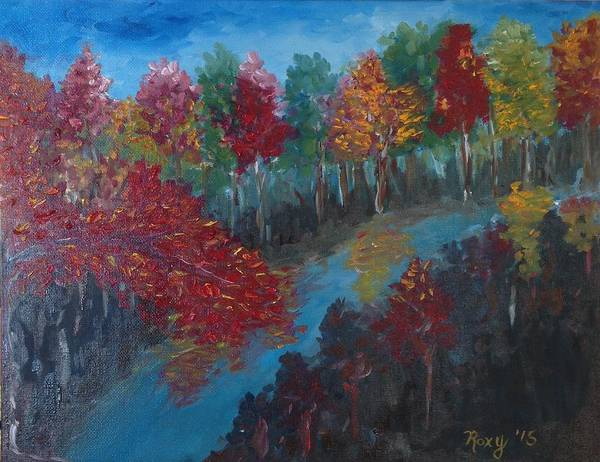 Landscape Painting - New Hampshire In Autumn by Roxy Rich