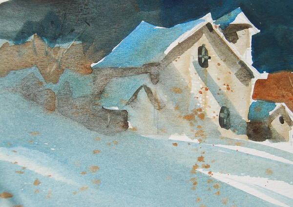 Barn Snow Painting - New York Barns by Len Stomski