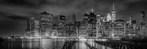 Wall Art - Photograph - New York City Monochrome Night Impressions - Panoramic by Melanie Viola