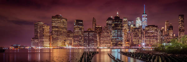 Wall Art - Photograph - New York City Nightly Impressions - Panoramic by Melanie Viola