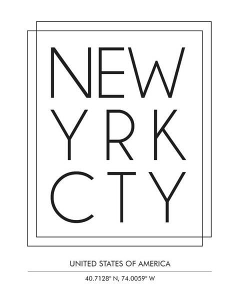 Wall Art - Mixed Media - New York City, United States Of America - City Name Typography - Minimalist City Posters by Studio Grafiikka