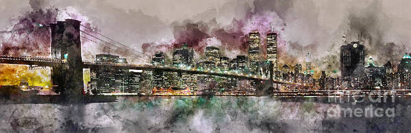 Wall Art - Photograph - New York City Skyline Watercolor  by Jon Neidert