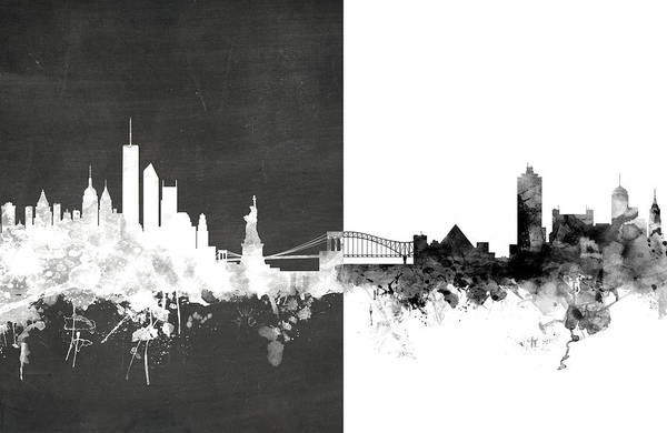 York Digital Art - New York Memphis Skyline Mashup by Michael Tompsett