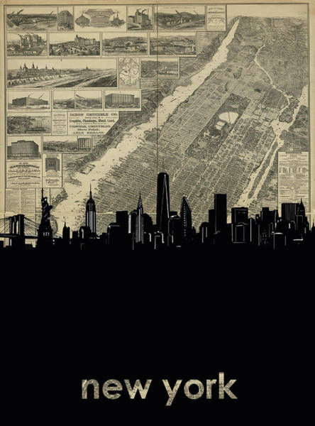 Wall Art - Digital Art - New York Skyline Map 4 by Bekim M
