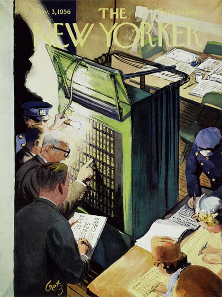 Election Painting - New Yorker March 19 1955 by Leonard Dove
