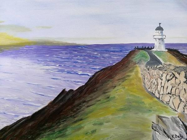 Art Print featuring the painting New Zealand Lighthouse by Kevin Daly