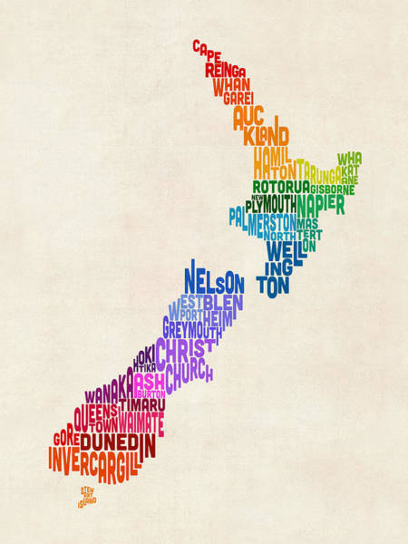 Text Map Digital Art - New Zealand Typography Text Map by Michael Tompsett