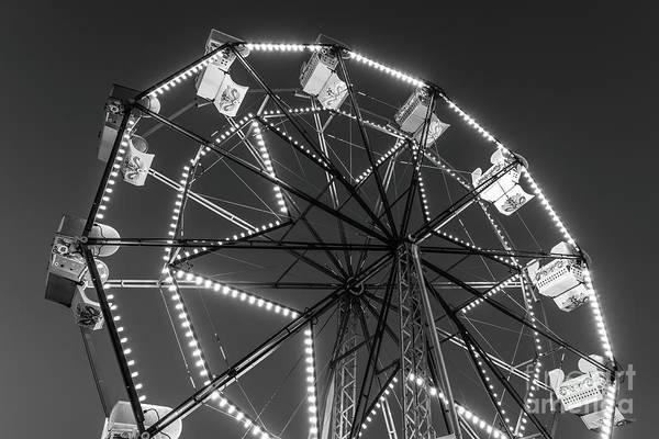 Balboa Photograph - Newport Beach Ferris Wheel Black And White Photo by Paul Velgos