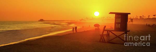 2017 Photograph - Newport Beach Lifeguard Tower M Sunset Panorama Photo by Paul Velgos