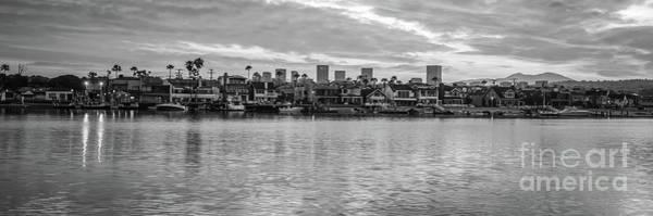 Wall Art - Photograph - Newport Beach Skyline Black And White Panorama Photo by Paul Velgos