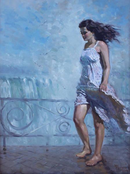 Figures Painting - Niagara Falls Mist  by Ylli Haruni