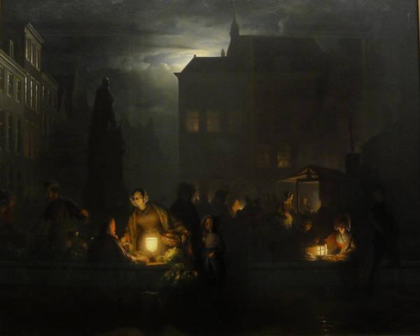 Painting - Night Market In Antwerp by Petrus Van Schendel