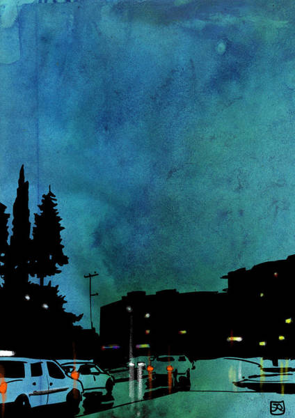Car Drawing - Nightscape 03 by Giuseppe Cristiano