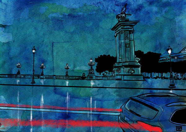 Car Drawing - Nightscape 04 by Giuseppe Cristiano