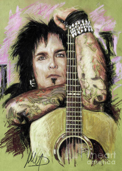 Rock Music Drawing - Nikki Sixx 3 by Melanie D