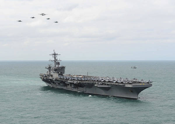 Sharpshooter Wall Art - Painting - Nimitz-class Aircraft Carrier Uss Theodore Roosevelt by Celestial Images
