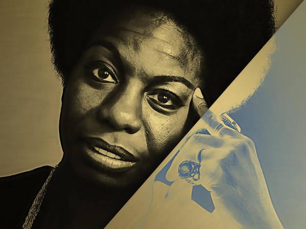 Folk Singer Mixed Media - Nina Simone Collection by Marvin Blaine