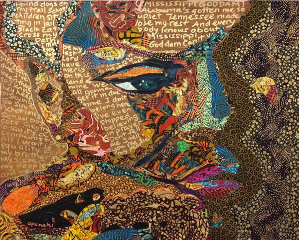 Tapestry - Textile - Nina Simone Fragmented- Mississippi Goddamn by Apanaki Temitayo M