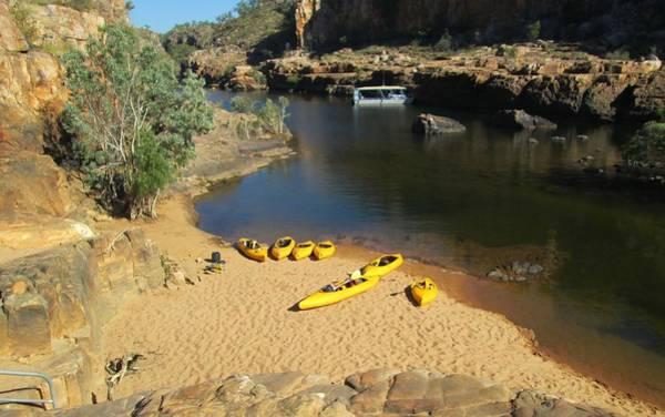 Photograph - Nitmiluk Gorge Kayaks by Tony Mathews