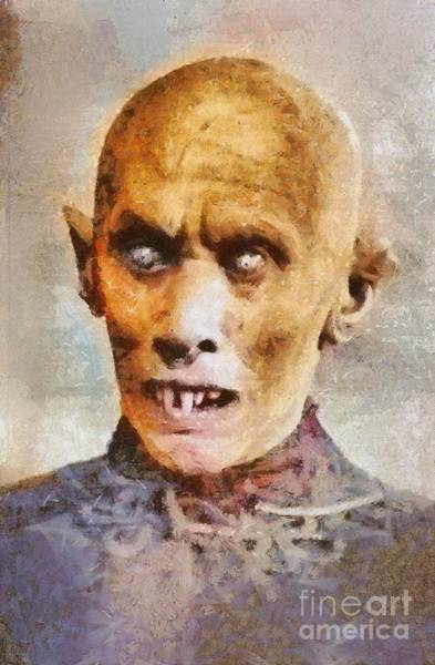 Frankenstein Painting - Nosferatu, Classic Vintage Horror by Mary Bassett