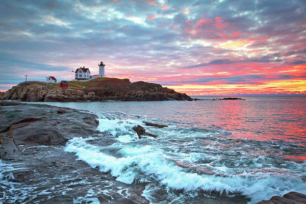 Wall Art - Photograph - Nubble Lighthouse Colorful Sunrise by Eric Gendron