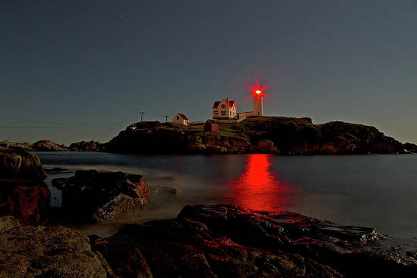 Photograph - Nubble Lighthouse Lit By The Full Moon by John Vose