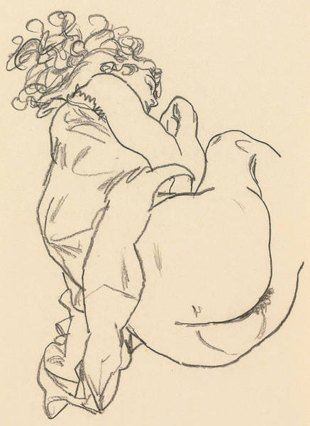 Crayon Drawing - Nude Lying Down by Egon Schiele