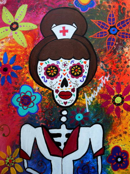 Wall Art - Painting - Nurse Day Of The Dead by Pristine Cartera Turkus