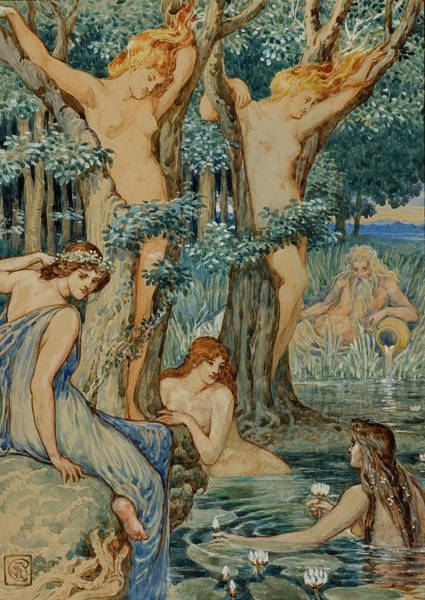 Dryad Wall Art - Painting - Nyads And Dryads by Walter Crane