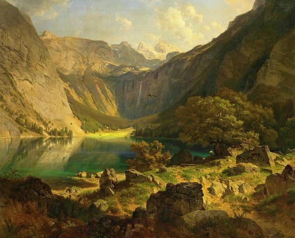 Bavarian Alps Painting - Obersee. Bavarian Alps by Johann Gottfried Steffan