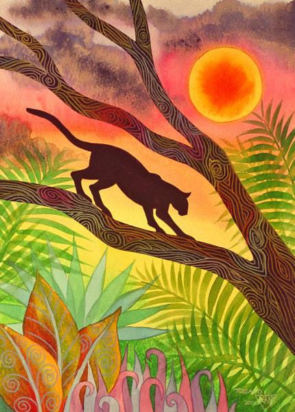 Jungle Painting - Ocelot At Sunset by Jennifer Baird
