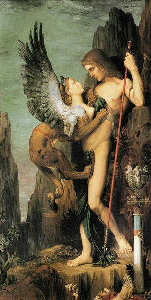 Victorious Painting - Oedipus And The Sphinx by Gustave Moreau