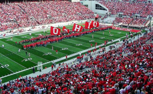 Ohio State Football Photograph - Ohio Flags by Peter  McIntosh