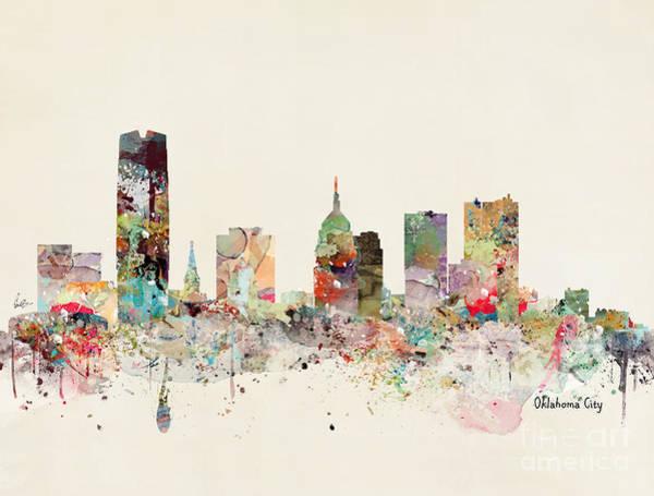 Oklahoma Wall Art - Painting - Oklahoma City Skyline by Bri Buckley