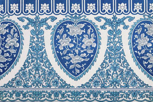 Boho Chic Drawing - Antique Blue Flower Bohemian Style Art Pattern Wall Art Prints by Wall Art Prints