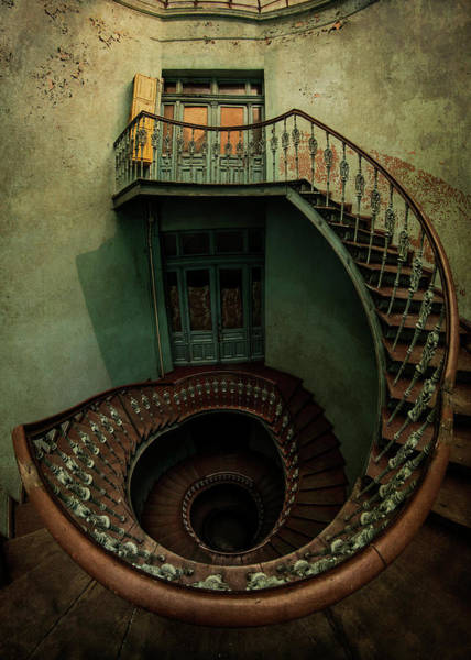 Unusual Perspective Wall Art - Photograph - Old Forgotten Spiral Staircase by Jaroslaw Blaminsky