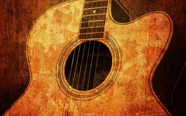 Page Mixed Media - Old Guitar by Nattapon Wongwean