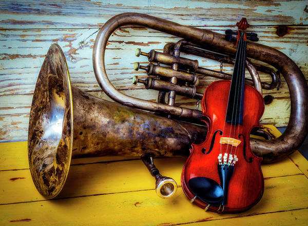Wall Art - Photograph - Old Horn And Violin by Garry Gay