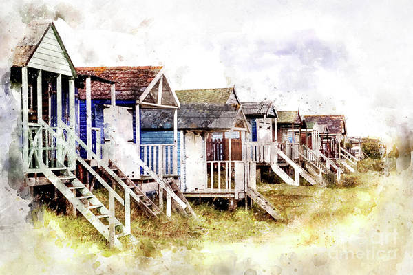 Childhood Digital Art - Old Hunstanton Beach Huts by John Edwards