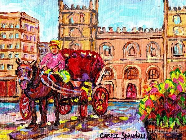 Painting - Landmark Painting Notre Dame Cathedral Caleche Summer Scene Canadian Art Carole Spandau by Carole Spandau