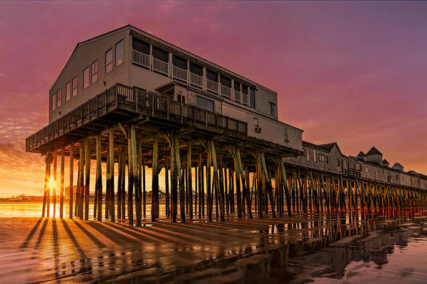 Photograph - Old Orchard Beach Pier Sunset by Susan Candelario