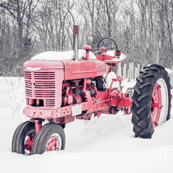 Photograph - Old Red Tractor In The Snow by Edward Fielding