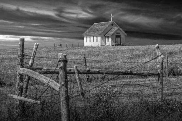 Photograph - Old Rural Country Church In Black And White by Randall Nyhof