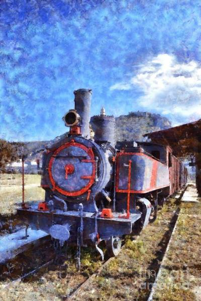 Peloponnese Painting - Old Steam Train In Nafplio Town by George Atsametakis
